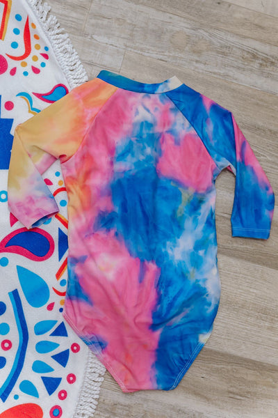 KIDS SWIM: God Gave Me You Tie Dye One Piece With Front Zipper Swimsuit in Purple - Filly Flair