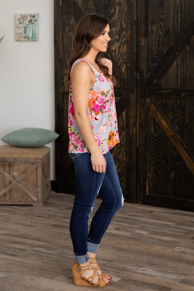 Follow Me This Way Neon Floral Tank Top in Grey - Filly Flair