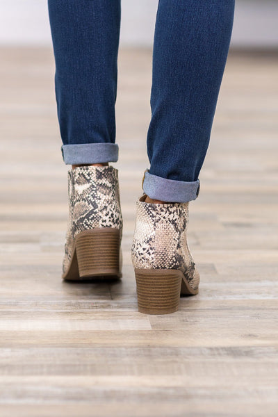 Charming Snakeskin Booties in Beige Brown - Filly Flair