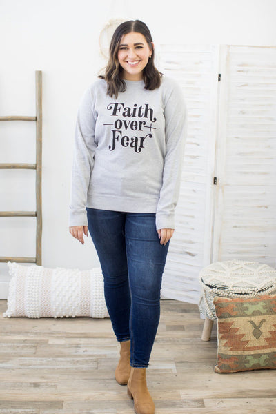 """Faith Over Fear"" Graphic Sweatshirt In Heather Grey - Filly Flair"