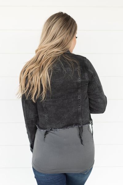 Head In The Clouds Denim Jacket in Black - Filly Flair