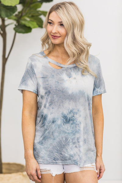 Lightning Crashes Tie Dye Top in Dove - Filly Flair