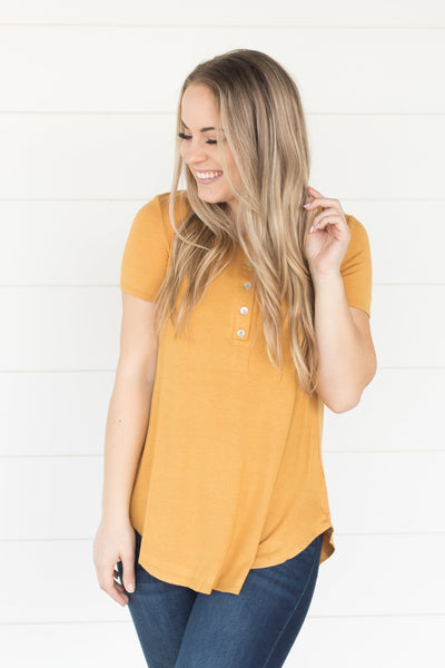 Time Stood Still Five Button Short Sleeve Top in Mustard - Filly Flair