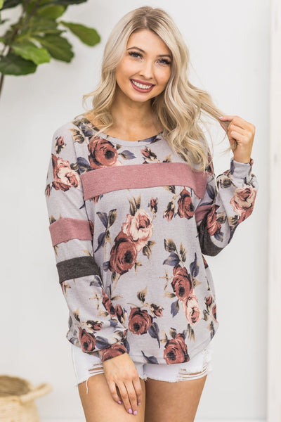 Memories Of You Floral Long Sleeve Top in Grey - Filly Flair