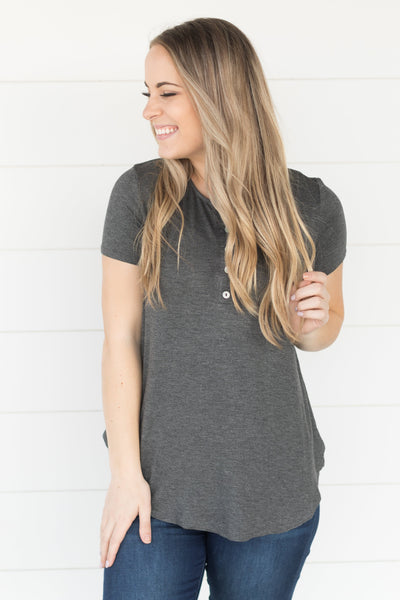 Time Stood Still Five Button Short Sleeve Top in Charcoal - Filly Flair