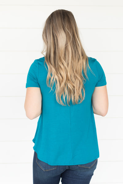 Time Stood Still Five Button Short Sleeve Top in Dark Teal - Filly Flair