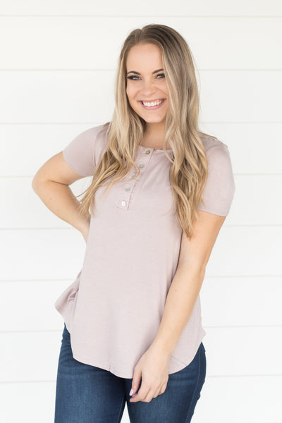 Time Stood Still Five Button Short Sleeve Top in Mauve - Filly Flair