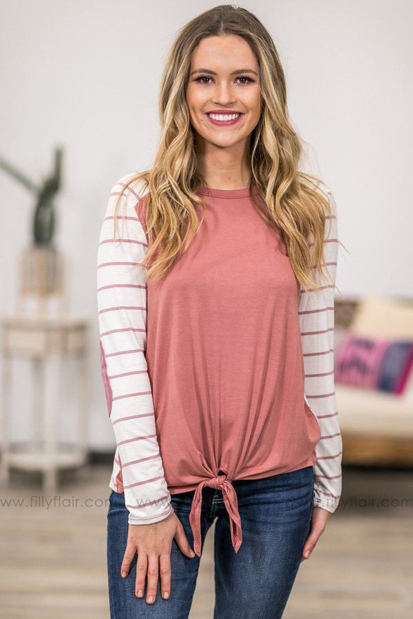 That's My Girl Long Sleeve With Elbow Patch Striped Tie Top in Dusty Rose - Filly Flair