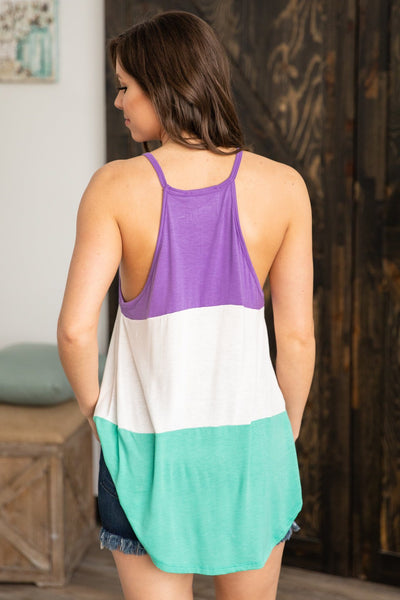 Make It Better Color Block Tank Top in Purple White Turquoise - Filly Flair
