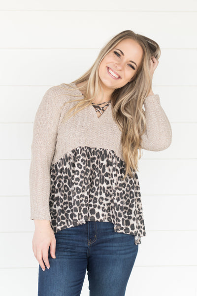 Heart Like Mine Animal Print Top in Oatmeal - Filly Flair