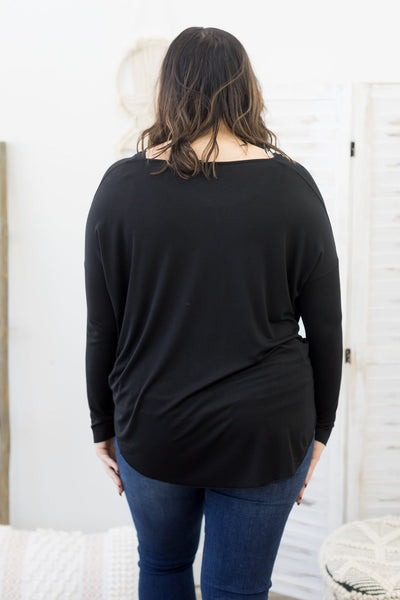 Use Your Charm Long Sleeve Top in Black - Filly Flair