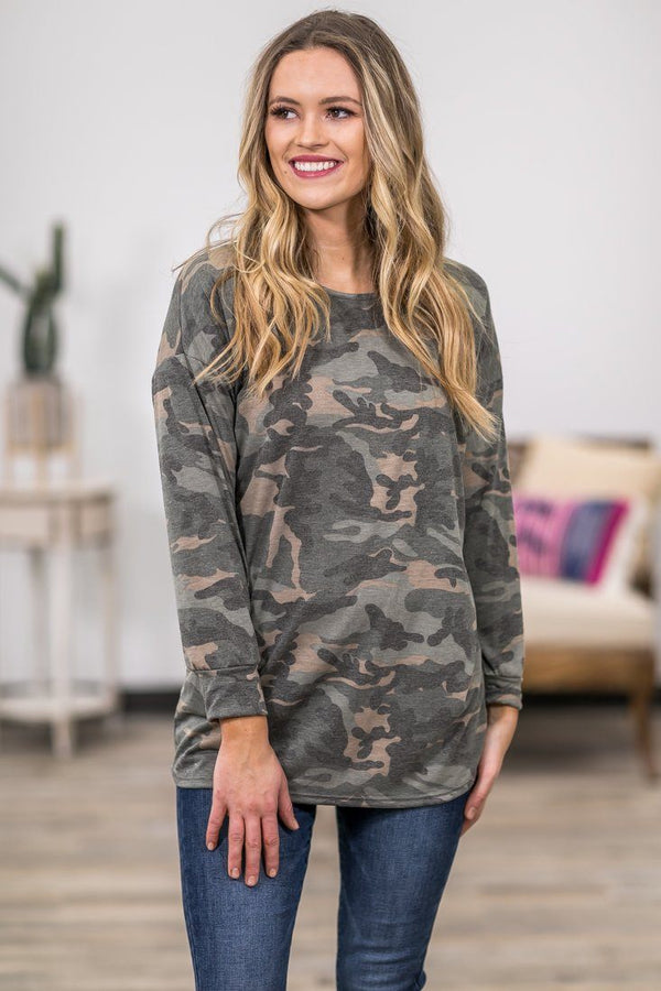 Now You Can Long Sleeve Criss Cross Back Camo Top - Filly Flair