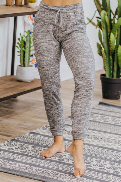 Today I'm Feeling Relax Fleece Joggers in Charcoal - Filly Flair