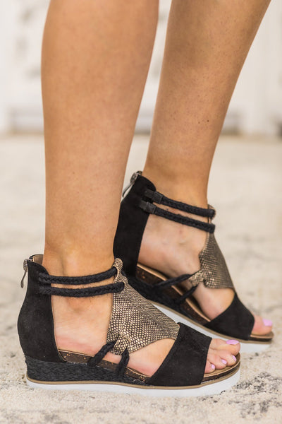 Money Honey Sandals in Black and Gold - Filly Flair