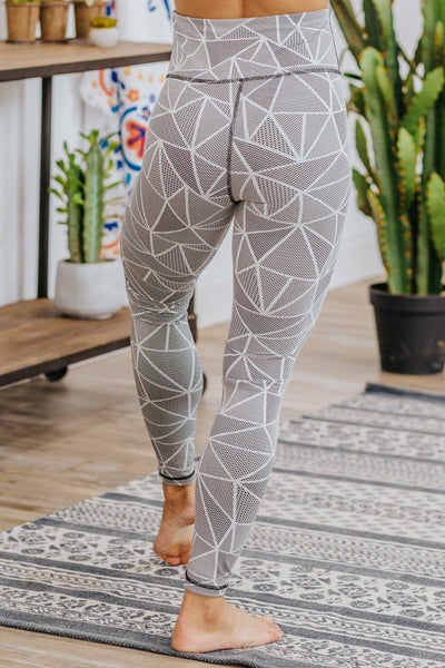 Moving To The Beat Mosaic Printed Leggings in Black White - Filly Flair
