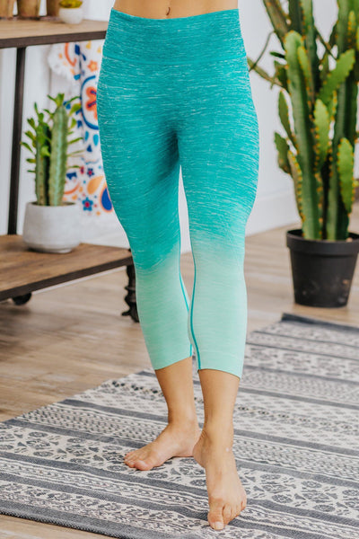 We Belong Together Two Tone Ombre Leggings in Jade - Filly Flair