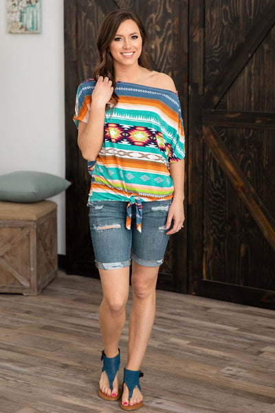 Too Much Short Dolman Sleeve Multi-Colored Aztec Print Top - Filly Flair