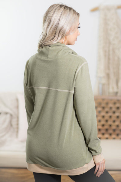 Be The Fire Cowl Neck Pull Over In Olive Green - Filly Flair