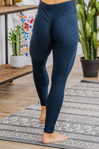 Learning The Experience 3D Popcorn Cinched Detail Leggings in Navy - Filly Flair