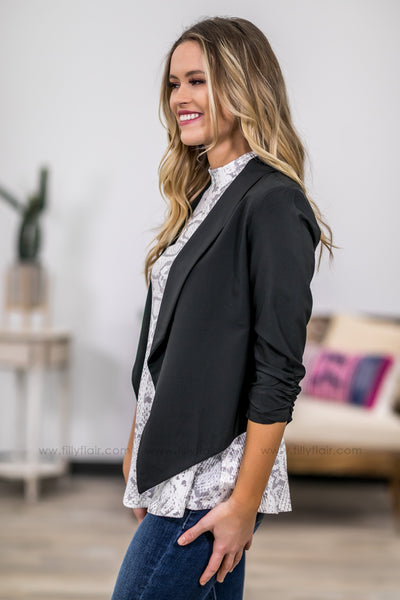 Bring Me To Life 3/4 Sleeve Fitted Blazer in Black - Filly Flair