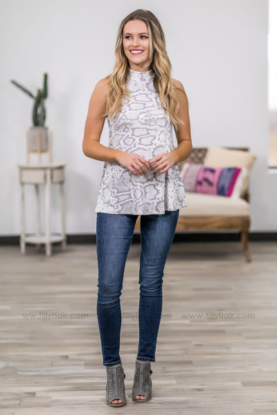 On Her Way Grey Snakeskin Ribbed Sleeveless Top in White - Filly Flair