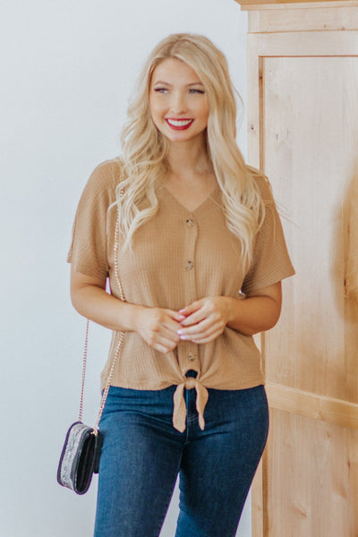 Comes In Waves Button and Tie Hem Short Sleeve Top in Tan - Filly Flair