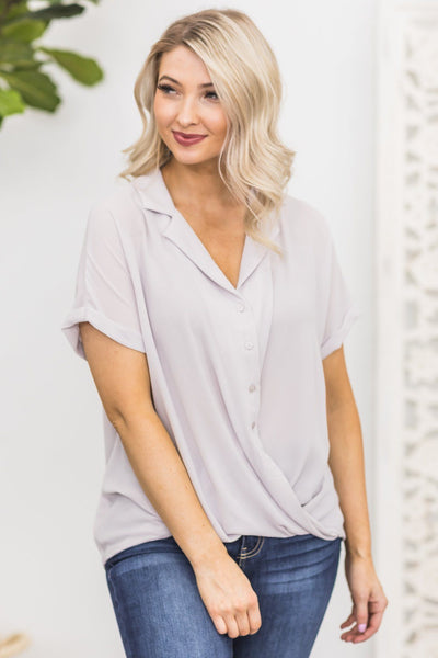 One More Time Button Up Top in Lilac Marble - Filly Flair