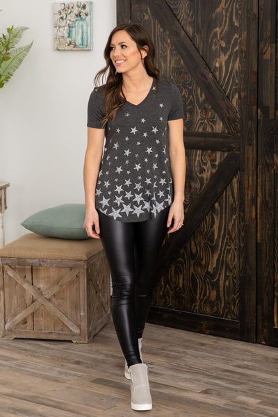 Be the Star You Are Short Sleeve Hi Low Top in Charcoal - Filly Flair