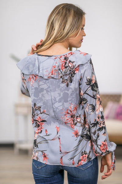 It's Your Love Long Sleeve Floral Ruffle Top in Slate Grey - Filly Flair