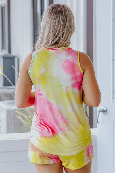 One Of Them Girls Tie Dye Front Pocket Tank Top in Yellow - Filly Flair