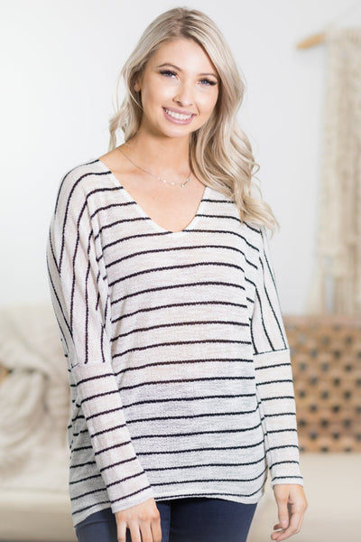 Low Key Sunday Striped Top in Off White - Filly Flair