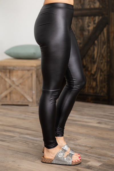 Better Off Gone Faux Leather Leggings in Black - Filly Flair
