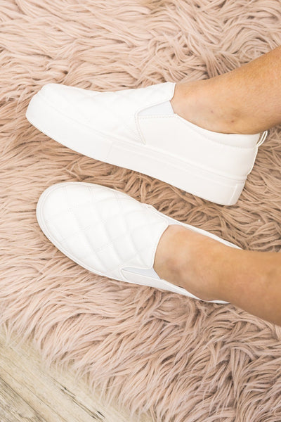 No Trace Slide On Shoes in White - Filly Flair