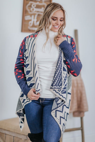 Love Me Anyways Aztec Pattern Walter Fall Cardigan In Ivory - Filly Flair