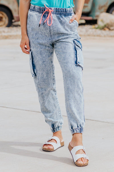 You Are Perfect To Me Cargo Pocket Acid Wash Joggers - Filly Flair