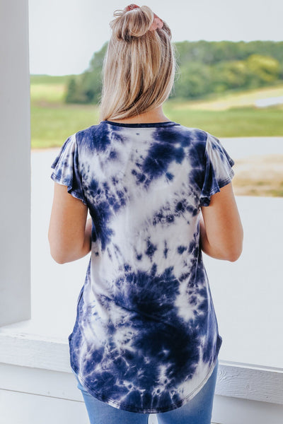 Come With Me Tie Dye Ruffle Detail Short Sleeve Top in Navy - Filly Flair