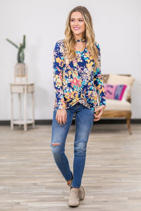 Follow Closely Floral Key Hole Knotted Top In Navy - Filly Flair