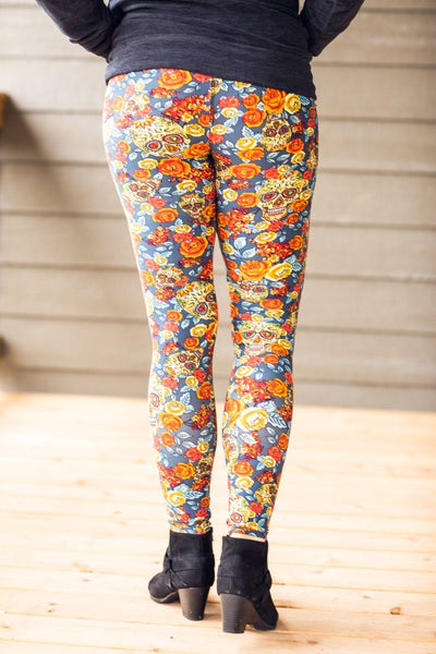 Gypsy That I Was Floral Skull Elastic Waist Leggings in Dusty Blue - Filly Flair