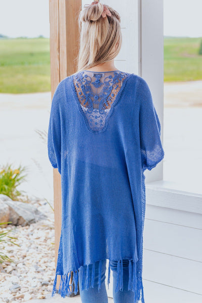 I Depend On You Crochet Detail Short Sleeve Cardigan in Blue - Filly Flair