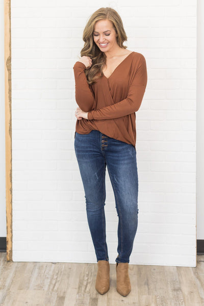 Use Your Charm Long Sleeve Top in Hazelnut - Filly Flair