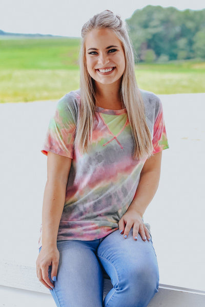 Call Me Tie Dye  Round Neck Short Sleeve Top in Lime - Filly Flair