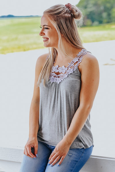 Piece By Piece Stitching Detail Sleeveless Tank Top in Grey - Filly Flair