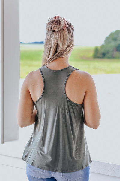 Basically Summer Racerback Tank in Sage - Filly Flair
