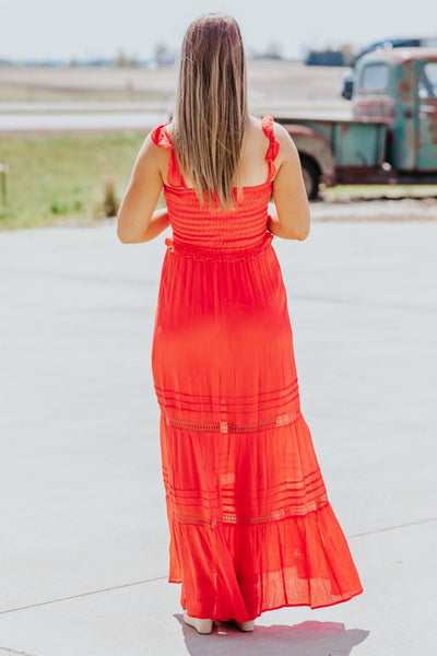 Go On Living Smocking Bodice Maxi Dress in Red - Filly Flair