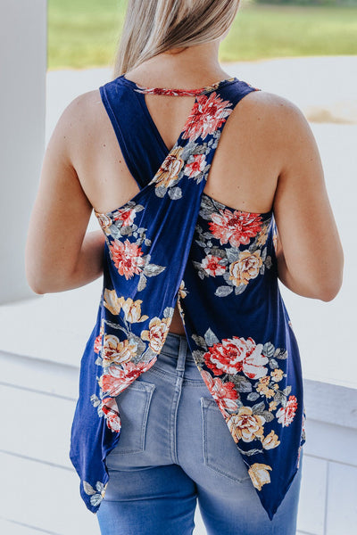 World Awaits Me Floral Cross Back Tank in Navy - Filly Flair