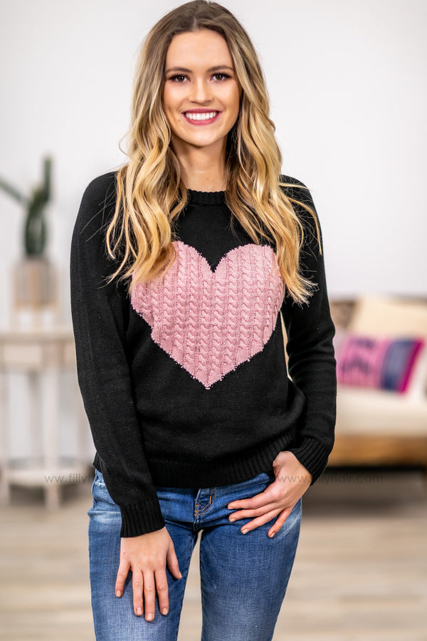 Feel The Love Long Sleeve Cable Knit Pink Heart Sweater in Black - Filly Flair