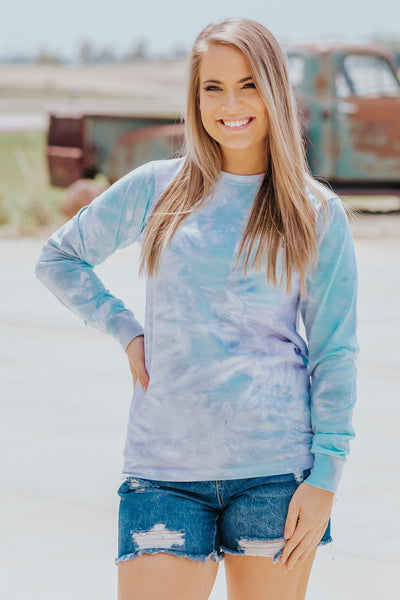Running Circles Tie Dye Long Sleeve Top in Violet - Filly Flair
