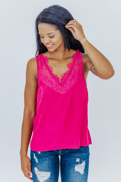 Sweet Fantasy Tank V Neck With Lace in Fuchsia - Filly Flair