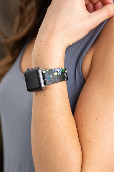 Apple Watch Band Floral Watch Band in Black Blue - Filly Flair