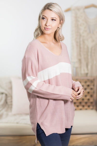 Varsity Sweater in Baby Pink - Filly Flair